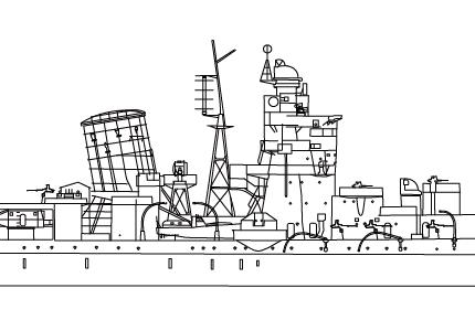 矢矧艦首から煙突